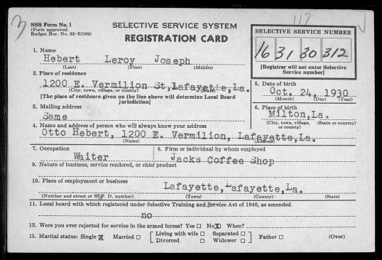 Lee Roy Joseph Hebert Selective Service Card (f)