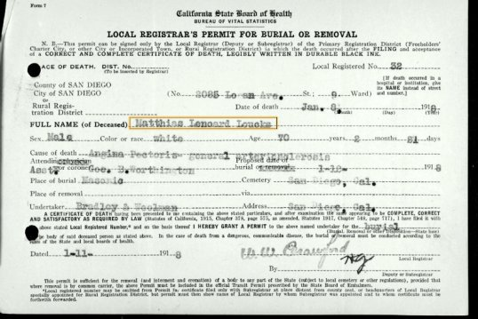 Mathias Loucks Burial Permit