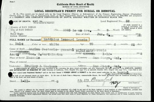 Mathias Loucks Burial Permit