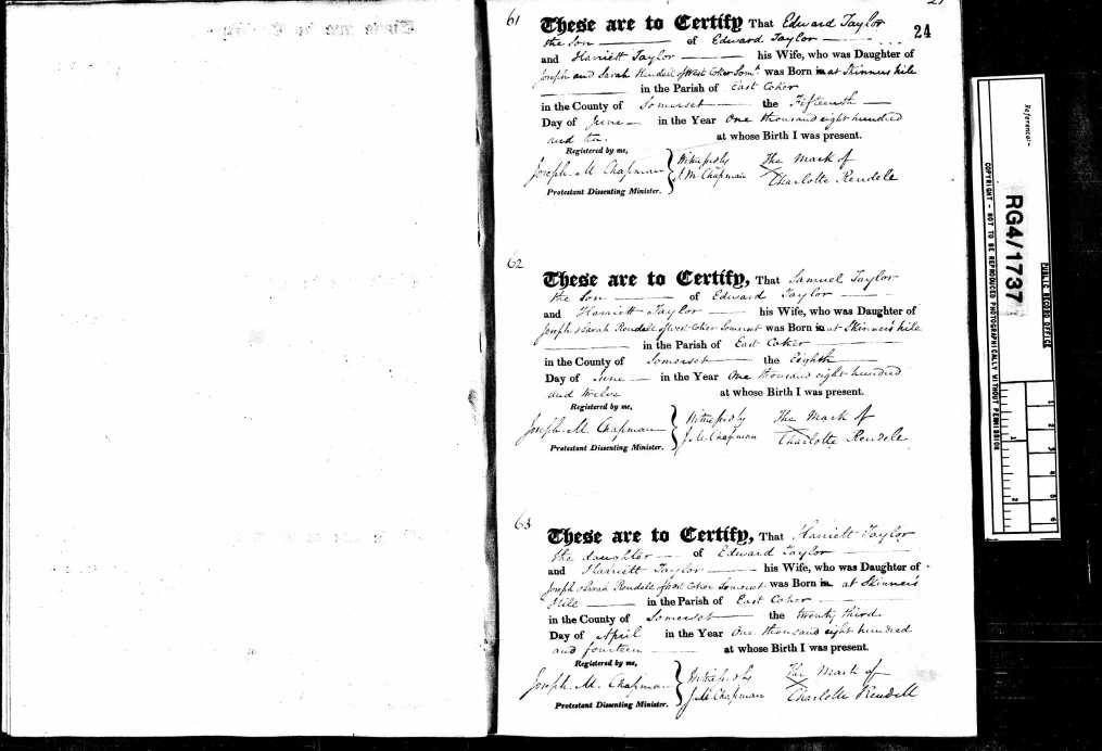TAYLOR, Harriet birth record.